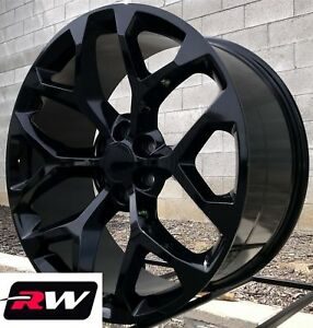 24 Inch 24 X10 Wheels For Chevy Tahoe Gloss Black Rims Ck156
