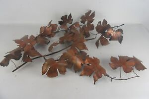 Mid Century Copper Metal Wall Art Maple Leaves Jere Style