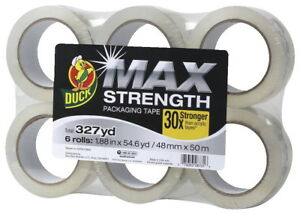 Duck Max Strength Packaging Tape 1 88 Inches X 54 6 Yards Clear Pack Of 6