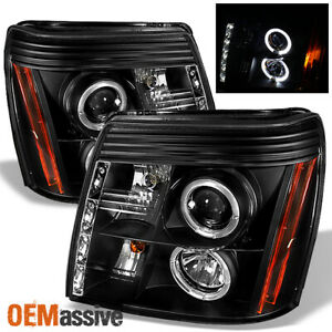 Fits 2002 06 Escalade Hid Model Halo Projector Black Drl Daylight Led Headlights