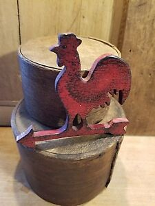 Antique Style Primitive Red Painted Distressed Rooster Weathervane Top So Cute
