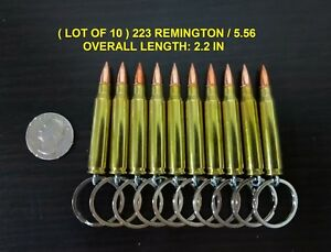LOT OF 10 ONCE FIRED REAL BULLET KEYCHAIN 223 REMINGTON 5.56 FMJ $17.50