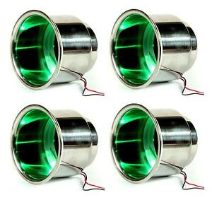 4pcs 3 Led Stainless Cup Drink Holder With Drain For Boat Rv Camper Car Caravan