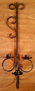 Vintage 3 Arm Wrought Iron Candle Wall Sconce