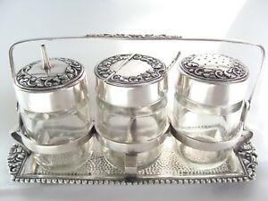 Antique Sterling Silver 800 Condiment Sauce Spice Cruet Jar Set W Holder 267gr