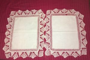 Lot Of 2 Identical Vintage Edwardian Butler S Tray Linens Hand Made