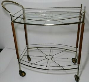 Vtg Mid Century Modern Teak Metal Glass Rolling Bar Tea Cart Atomic Sunburst