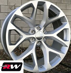 24 Inch 24 X10 Wheels For Chevy Tahoe Machined Silver Rims Ck156