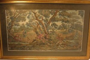 A Large French Antique Verdure Tapestry Of A Woodland Hunting Scene 39 X 25