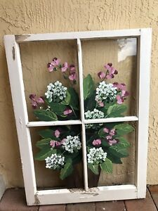 Vintage Flower Painted Art Glass Window Panes Frame 26x 35 Country Rustic