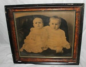 Vintage Antique Large Wood Plaster Picture Frame With Children S Photograph