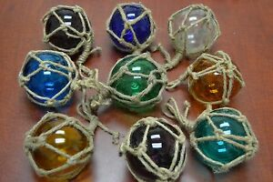 4 Pcs Reproduction Glass Float Ball With Fishing Net 4 Pick Your Colors
