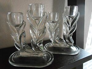 Vintage Clear Glass Tulip Double Candlesticks Set Of 2 Nice Preowned Condition