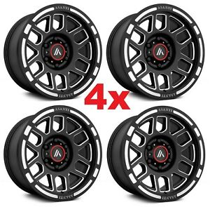 16 Asanti Satin Matte Black Wheels Rims 16x8 5x4 5 5x114 3 Off Road Fuel Xd