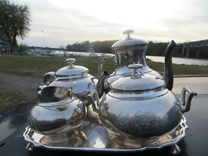 Whiting Sterling Silver Tea Set 4pc 412 Contemporary Style Tea