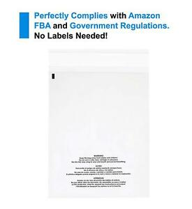 500 Count Large Self Seal 1 5 Mil Clear Plastic Poly Bags W suffocation Warning