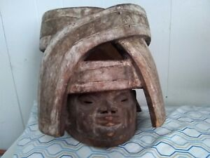 Unusual Antique African Wooden Mask Old Vintage Hand Carved Wood Face Headress