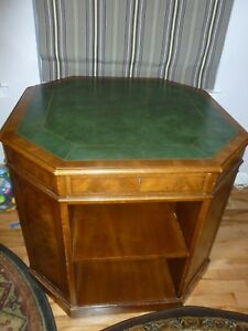 Heritage Henredon Leather Top Burl Inlay Georgian Style Octagonal Rent Table