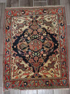 2x3ft Antique Persian Jozan Sarouk Wool Rug