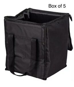 Case Of 5 Insulated Food Delivery Bag Soft Sided Black Nylon 13 X 13 X 15 5