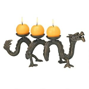 14 5 W Ancient Chinese Dragon Of Good Luck Iron Candle Sculpture
