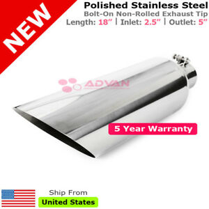 Angled Polished 18in Exhaust Tip Single Wall 2 5 In 5 Out Universal 233580