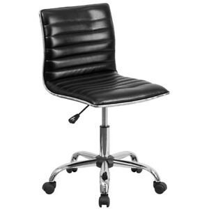 Mid Back Designer Leather Home Office Chair Seat Adjustable Chrome Glossy Black