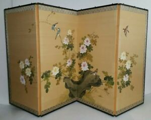 Vintage Antique Japanese Painted Silk Screen 4 Panel Folding Divider Painting