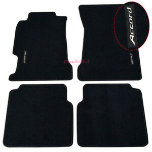 Fits 94 97 Honda Accord Black Nylon Floor Mats Carpets W Accord Embroidery