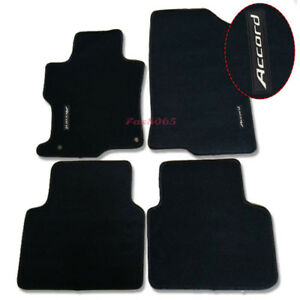 For 08 12 Honda Accord Black Nylon Floor Mats Carpets W Accord Embroidery