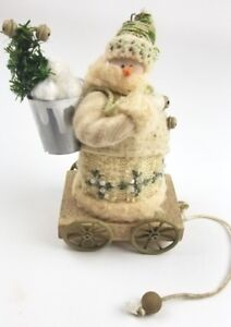 Primitive Snowman Doll Pull Toy Christmas Holiday Display