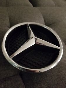 A0008880060 Mercedes Benz Front Grille Center Badge Logo Chrome With Support