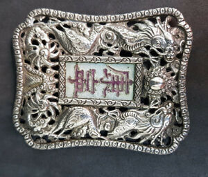 Rare Antique Chinese Export Solid Silver Dragons With Enamel Belt Buckle 25 G