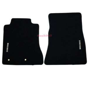 Fits 15 18 Ford Mustang Floor Mats Front Nylon Black W White Embrodery