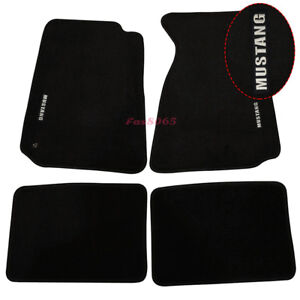 Fits 1994 1998 Ford Mustang Floor Mats Front rear Nylon Black W white Embrodery