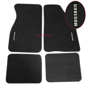 Fits 79 93 Ford Mustang Black Nylon Floor Mats Carpets W White Embroidery