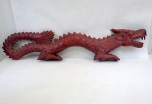 Unique Chinese Dragon Carved Wood Huge 40