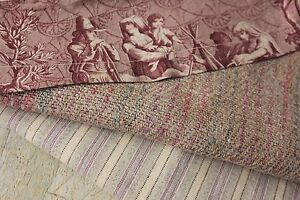 Antique French Fabric Vintage Material Purple Pieces For Quilting Toile De Jouy