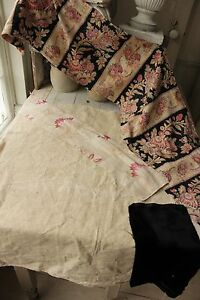Vintage French Fabrics Antique Material Project Bundle Printed Linen Plaid