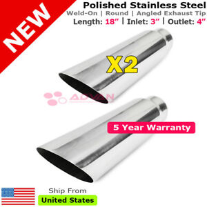 Angled Polished 18in Pair Weld on Exhaust Tips 3 In 4 Out Universal 234159