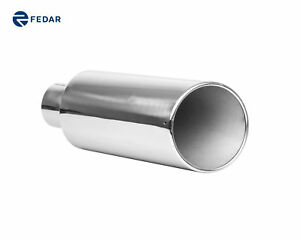 4 Inlet 7 Outlet 18 Rolled End Angle Cut Truck Exhaust Muffler Tailpipe Tip