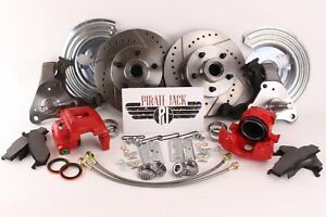 1962 1972 B E Body Challenger Charger Disc Brake Kit Red Powder Coated Calipers