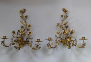 Vintage Pair Italian Gold Gilt Tole 3 Candle Sconce Pair Hollywood Regency