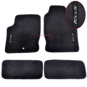 Fits 00 07 Ford Focus Black Nylon Floor Mats Carpets W Embroidery