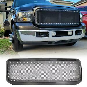 For 2005 2007 Ford F250 F350 Super Duty Gloss Steel Mesh Rivet Grille