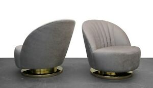 Mid Century Pair Of Swivel Slipper Chairs With Brass Bases By Milo Baughman