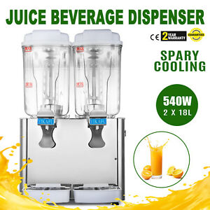 9 5 Gallon Cold Juice Beverage Dispenser Refrigerated Cooler Drinks 2x18l