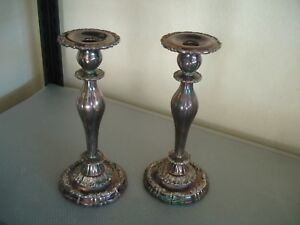 Pair Of Lunt V 62 Silverplate Victorian Heavy And Tall Candlesticks 11 High