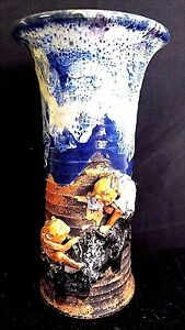 Antique Japanese Sumida Gawa Art Pottery Vase Monkey And Older Relief 9 75