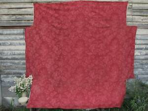Antique French Fabric 19th Century Bed Cover Red Pink Floral Textile